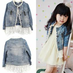 2-7T Kids Girls Jean Coat Jacket Outwear Denim Top Button La
