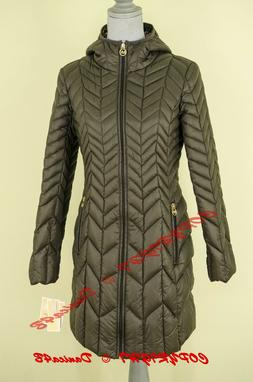 $240 Michael Kors Hooded Chevron Quilted Packable Down Puffe