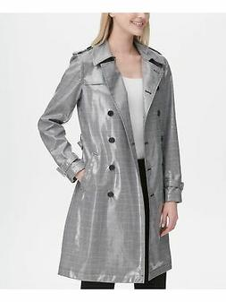 CALVIN KLEIN $249 Womens New Black Glen Plaid Trench Coat S
