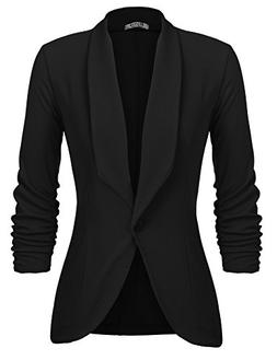 Beyove Women's 3/4 Sleeve Blazer Open Front Cardigan Jacket