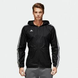 $95 ADIDAS Men SLIM FIT BLACK WHITE STRIPE LOGO WINDBREAKER