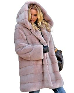 9eeccd7d76 Aofur New Womens Thick Faux Fur Big Hooded Parka Long Overca. 5