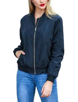 Beyove Women's Bomber Jacket Solid Biker Quilted Lightweight