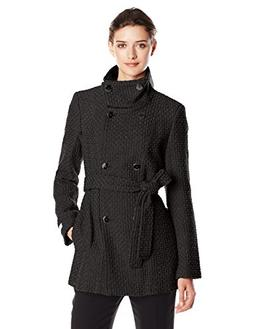 Calvin Klein Women's Double Breasted Wool Coat with Belt, Bl