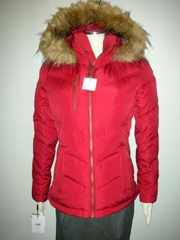 Calvin Klein puffer women's down jacket coat black RED winte