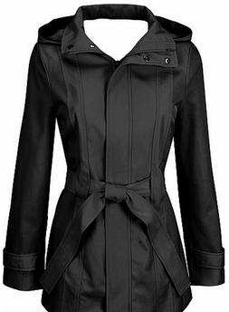Calvin Klein women's jacket belted trench coat black hooded