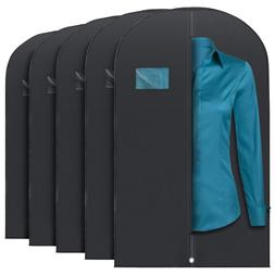 Garment Bags 5 Pcs 53-inch for Suit Dress Grey/Black with Tr