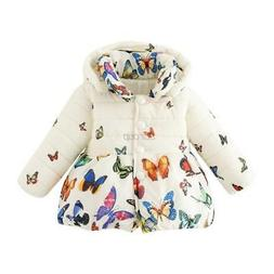 Infant Baby Girls Winter Butterfly Coat Kids Soft Cotton Jac