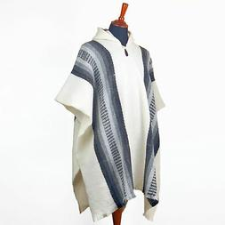 LLAMA WOOL MENS WOMANS PONCHO COAT JACKET WITH HOOD INDIGENO