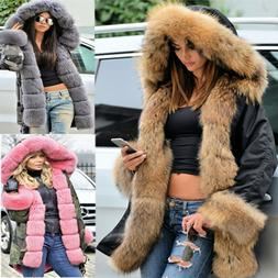 Roiii Women Warm Long Coat Fur Collar Hood Jacket Slim Winte