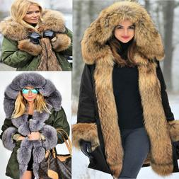 Roiii Women's Winter Warm Hood Parka Jacket Faux Fur Long Ou