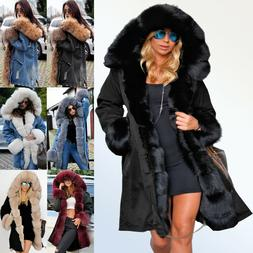 2c6075a79e5 Roiii Womens Plus Size Faux Fur Parka Hooded Fur Lining Thic