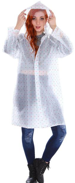 Transparent Vinyl Raincoat Runway Style Womens Girls Clear F