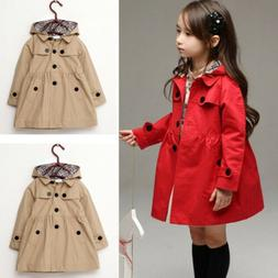 US Child Girl Kids Jacket Trench Coat Hooded Windbreaker Out