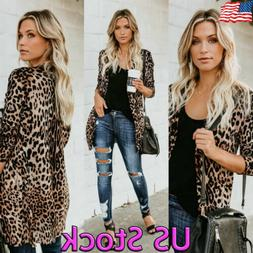 US Women Casual Slim Leopard Print Cardigan Jacket Coat Butt