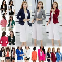 US Women's One Button Slim Casual Business Blazer Suit Jacke