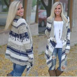 US Womens Boho Long Sleeve Waterfall Cardigan Knitwear Jumpe