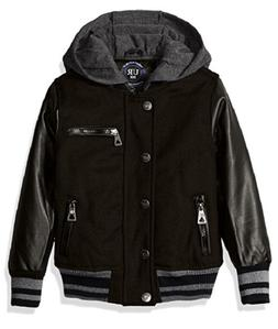 Urban Republic Boys' Wool Varsity Coat With Faux Leather Sle