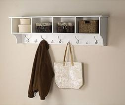 White 5 Ft Entry Hall Shelf with 4 Cubby and 9 Hook Coat Rac