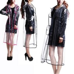 Women Girls Men Transparent Hoodie Clear Rainwear Runway PVC