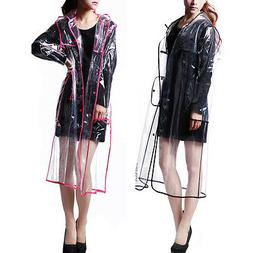 Women Men Rain Coat Transparent Raincoat Windproof Jacket Ou