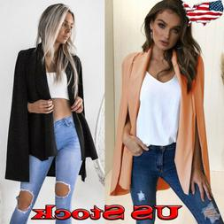 Women's Long Trench Poncho Cape Coat Jacket Blazer Suit Shaw