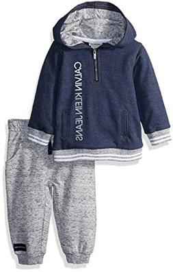 Calvin Klein Baby Boys 2 Pieces Hooded Jog Pant Set, Peacoat