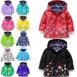 Baby Girls Kids Hooded Raincoat Coat Jackets Rain Wear Windp