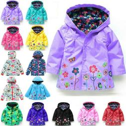 Baby Girls Kids Hoodies Raincoat Coats Jackets Rain Wear Win