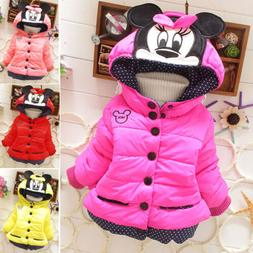 Kids Girl Cartoon Minnie Mouse Hoodies Hoody Button Coat Jac