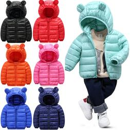 Baby Kids Boys Girl Toddler Quilted Jacket Puffer Coat Zip U