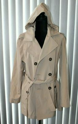 Calvin Klein Beige Hooded Trench Coat Size Women's Large