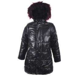 Urban Republic Big Girls Black Wine Faux Fur Trim Hooded Puf