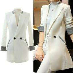 Blazer Suit Women Lapel Long Coats Jacket Slim Work Cardigan