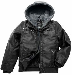 Wantdo Boy's Faux Leather Jacket Waterproof Zipper Coat with