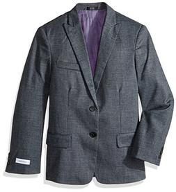 Calvin Klein Boys' Big Blazer Jacket, Dark Grey Diamond, 12