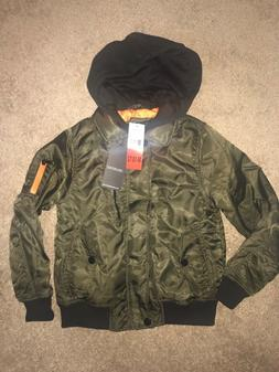 Boys Medium Olive Urban Republic Aviator Jacket 10/12 Coat N