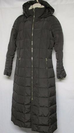 CALVIN KLEIN BROWN WOMAN'S PUFFER WINTER COAT JACKET W/HOOD