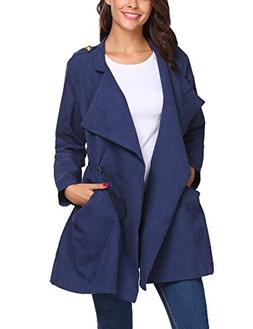 Beyove Women's Casual Long Sleeve Lapel Outwear Trench Coat