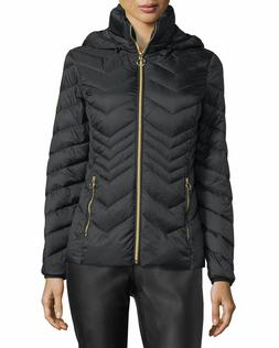 MICHAEL KORS Chevron Quilted Down Packable Hooded Puffer Jac