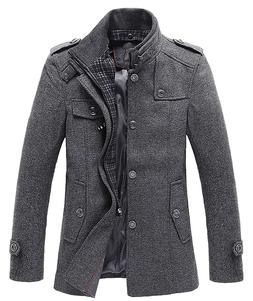 Chouyatou Men's Winter Stylish Wool Blend Single Breasted Mi