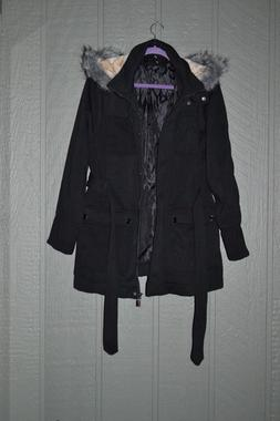 Urban Republic Coat Belted Black Hooded Jacket Women's Plus