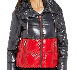 Tommy Hilfiger Color Block Puffer With Hood Red, Blue Medium
