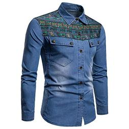 Elogoog Mens coat Men's Denim Slim Fit Jackets Distressed Lo