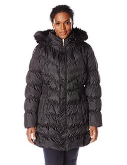 Via Spiga Women's Diamond Quilted Down Coat with Faux Fur Co