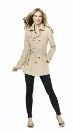 CALVIN KLEIN Double Breasted Belted Khaki Trench Coat, Large