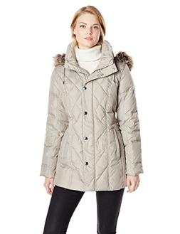 London Fog Women's Packable Diamond Quilted Down Coat, Pearl