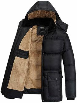 Fashciaga Men's Hooded Faux Fur Lined Quilted Winter Coats J