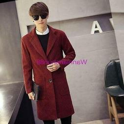 Fashion Men's Casual Slim Wool Long Jacket Outwear Parkas Ov