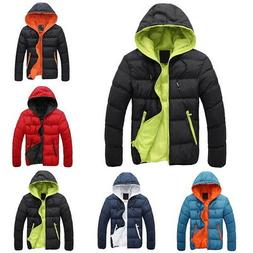 Fashion Mens Hooded Quilted Coats Jackets Winter Warm Zipper